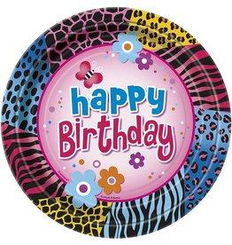 "Wild Birthday 9"" Plate 8 CT"