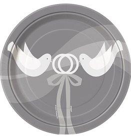 "Silver Wedding 7"" Plate 8 CT"