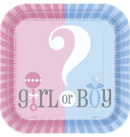 "Gender Reveal 9"" Plate 8 CT"