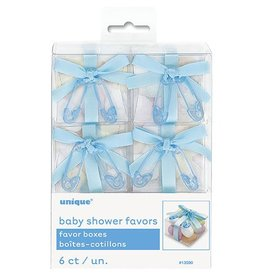Six Baby Shower Blue Favor Boxes