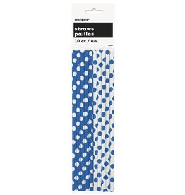Polka Dot Paper Straws 10ct Blue