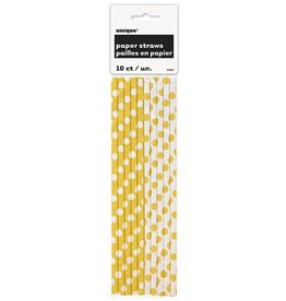 Polka Dot Paper Straws 10ct Yellow