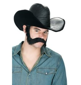 Wild West Moustache & Sideburn Set