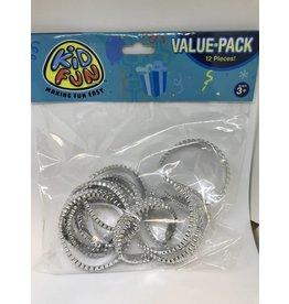 Silver Plastic Bracelets 12 piece package