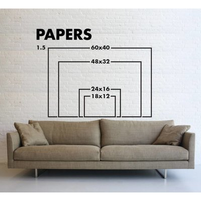 Framed Print on Rag Paper: Turquoise Blur Print on Paper