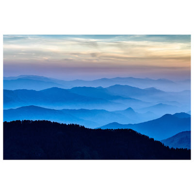 LED Backlit Fabric Print Metal Box The Blue Mountains by S. Pesterev Back Lit Photography