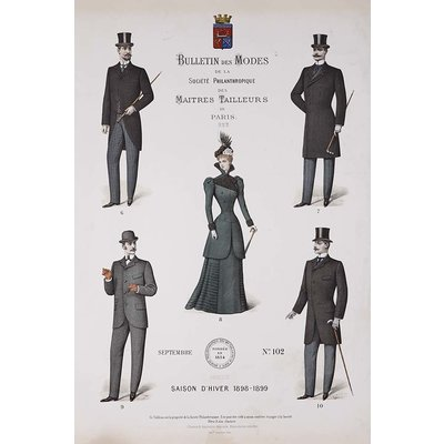 Framed Print on Rag Paper: Bulletin Des Modes Paris Winter 1898-1899