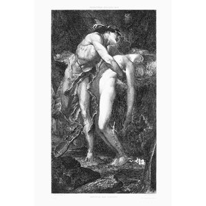 Framed Print on Rag Paper Orpheus and Eurydice