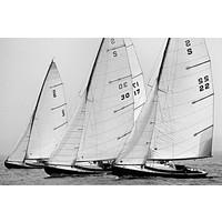 Framed Print on Rag Paper S- Boats in Line