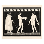 Framed Print on Rag Paper Trainer with two Athletes Monochrome