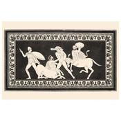 Print on Rag Paper 100% Cotton - Hercules fighting Centaurs Monochrome