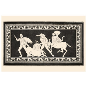 Print on Rag Paper 100% Cotton - Hercules fighting Centaurs Monochrome