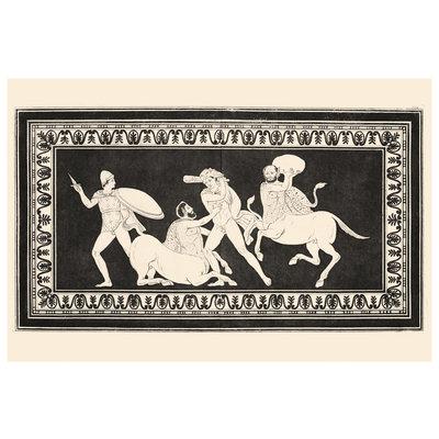 Framed Print on Rag Paper Hercules fighting Centaurs Monochrome