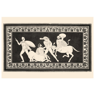 Hercules fighting Centaurs Monochrome