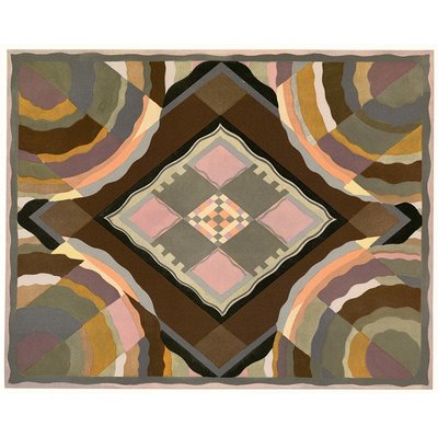 Framed Print on Rag Paper Art Deco Pattern' in Gold, Pink, Black and Grey by George Benedictus