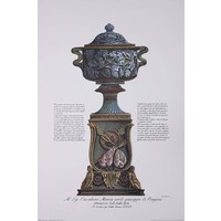 The Picturalist Framed Print on Rag Paper: Piranesi Urn Hand Colored for Cavalier M. C. Giuseppe di Pougens Lover of Fine Art