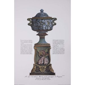 Framed Print on Rag Paper Piranesi Urn Hand Colored for Cavalier M. C. Giuseppe di Pougens Lover of Fine Art