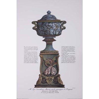 Framed Print on Rag Paper: Piranesi Urn Hand Colored for Cavalier M. C. Giuseppe di Pougens Lover of Fine Art