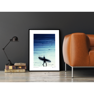 Framed Print on Rag Paper: A Walk on the Beach by Enric Gener