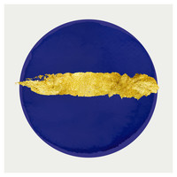 Framed Print on Rag Paper: Gold Blue Circle