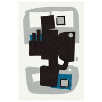 Framed Print on Rag Paper: Modernist Blue Series #4