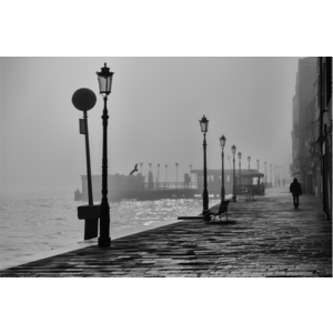 Framed Facemount Acrylic Morning Fog In Venice