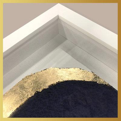 Framed Print on Rag Paper Gold Blue Circle - Embellished