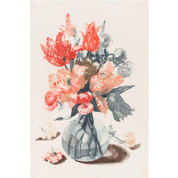 Framed Print on Rag Paper: Flowers in Glass Vase