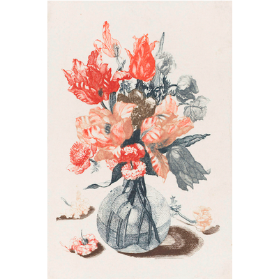 Framed Print on Rag Paper: Flowers in Glass Vase, late 1600's from the Rijksmuseum