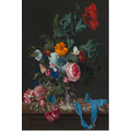 The Picturalist Framed Print on Rag Paper: Flower Still Life with a Timepiece