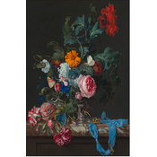Framed Print on Rag Paper Flower Still Life with a Timepiece by Willem van Aelst