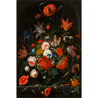 Framed Print on Rag Paper: Flowers in a Glass Vase by Abraham Mignon