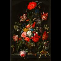 Framed Print on Rag Paper: Flowers in a Metal Vase