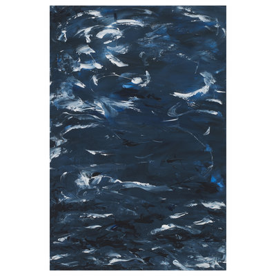 Framed Print on Canvas: Swirling Blues 2 Canvas by Leila Pinto