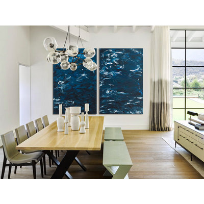 Framed Print on Canvas: Swirling Blues 1 Canvas by Leila Pinto