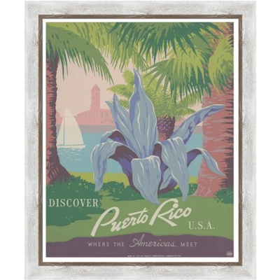 Framed Print on Rag Paper: Discover Puerto Rico Poster by the U.S. Government programs