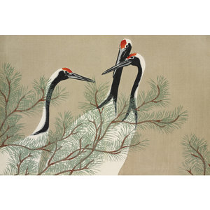 Framed Print on Rag Paper: Cranes from Momoyogusa