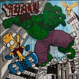 The Picturalist Framed Print on Canvas: Hulk vs Bart