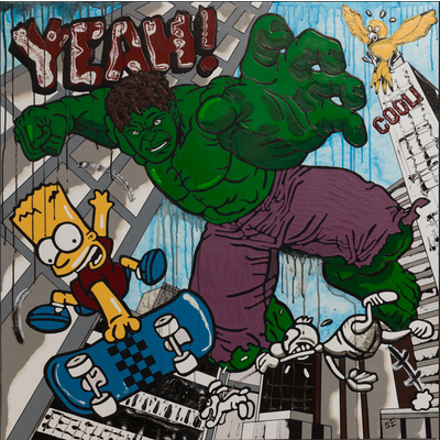 Framed Print on Canvas: Hulk vs Bart by Sylvie Eudes