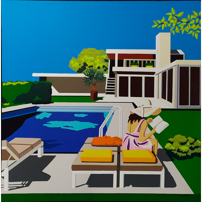 Framed Print on Canvas: Palm Springs by Sylvie Eudes