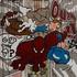 Framed Print on Canvas: Spiderman, Tintin et Milou by Sylvie Eudes