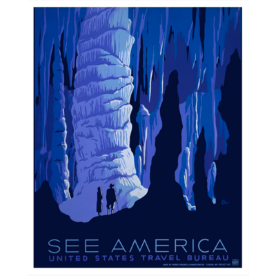 Framed Print on Rag Paper: See America Poster by the U.S. Government programs