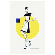 The Picturalist Framed Print on Rag Paper: Yellow & Blue Dress Fashion Vintage Sketches 60S 2