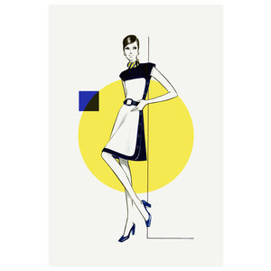 The Picturalist Framed Print on Rag Paper: Yellow & Blue Dress