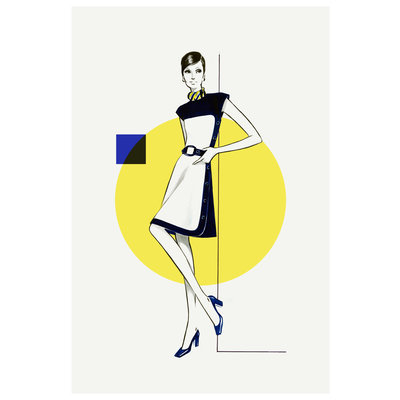 Framed Print on Rag Paper: Yellow & Blue Dress Fashion Vintage Sketches 60S 2