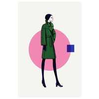 Framed Print on Rag Paper: Green Jacket & Skirt
