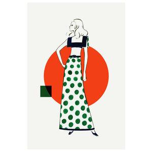 Framed Print on Rag Paper: Fashion Vintage Sketches 70S 2