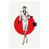 Framed Print on Rag Paper: Red Dot White Look Fashion Vintage Sketches 80S
