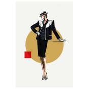 Framed Print on Rag Paper: Fashion Vintage Sketches 80S 3