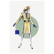 Framed Print on Rag Paper: 2 Piece Fashion Vintage Sketches 80S 2